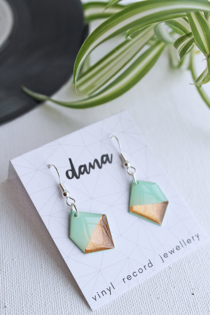 Geometric nugget mint and rose gold vinyl earrings