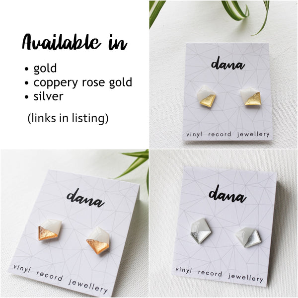 Geometric vinyl stud earrings in white and silver