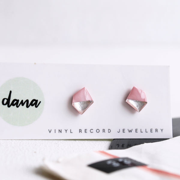 Minimalist geometric handcrafted pink and silver stud earrings / vinyl record jewelry