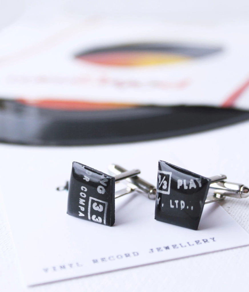 Black cufflinks handmade from an old vinyl record by Dana Jewellery in Ireland