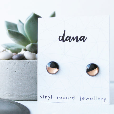 Black and copper eco-friendly disc studs earrings / vinyl jewelry