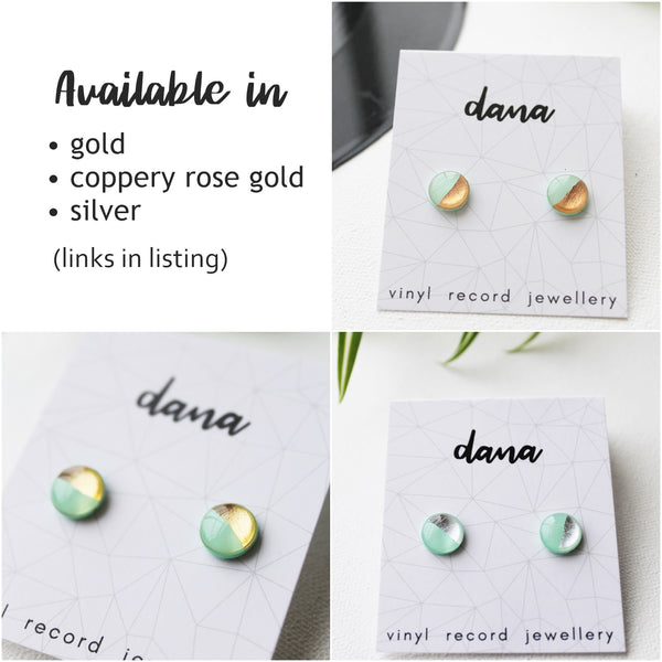 Silver and mint disc studs / vinyl record jewellery