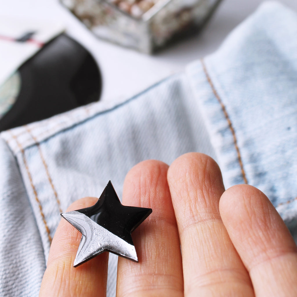 Black and silver star pin badge / vinyl record jewelry