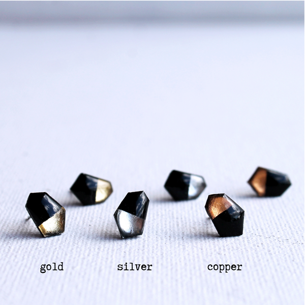 geometric small recycled vinyl record stud earrings / gold silver or copper