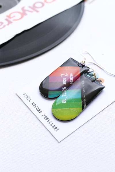 *New FAB colorful mismatched one of a kind vinyl record earrings