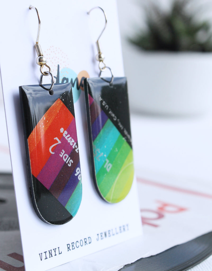 colorful unique handmade recycled vinyl record earrings