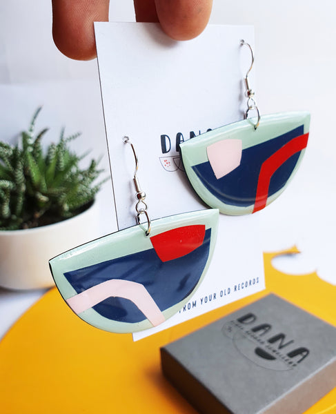 quirky abstract vinyl record earrings / sustainable fashion ONE OF A KIND