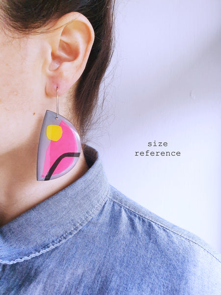 Geometric upcycled mixed media art earrings / ONE OF A KIND / slow fashion