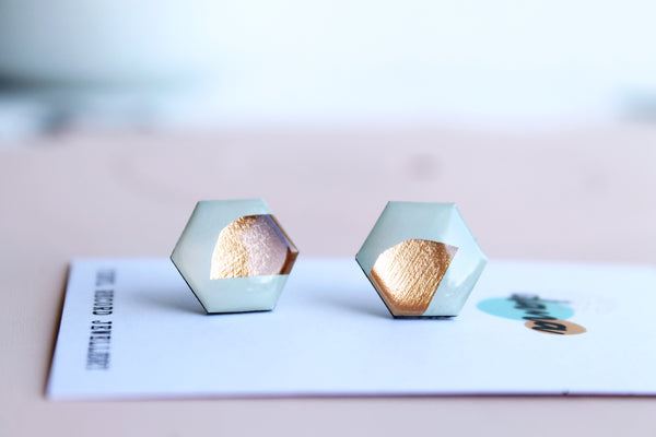 *new* upcycled hexagon studs in light mint green and copper
