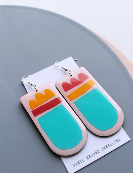 Fab fun n bold colorful mixed media one of a kind upcycled vinyl earrings