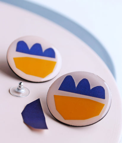 large round yellow and blue recycled stud earrings