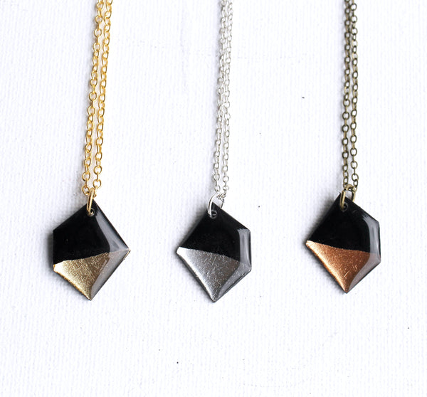 geometric recycled vinyl record necklace / simple lightweight nugget pendant in gold, silver or copper