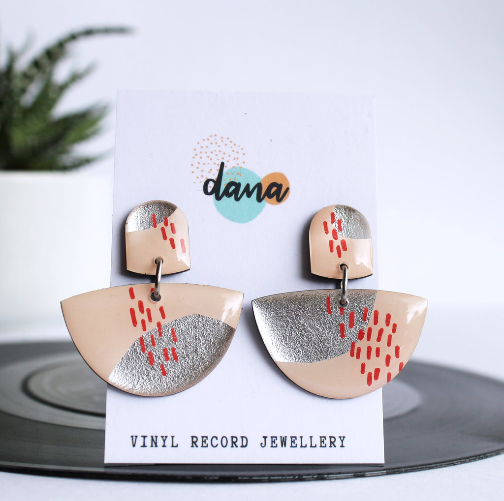 *new* one of a kind upcycled vinyl earrings / ethical fashion