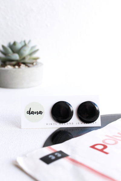 20mm large black upcycled eco-friendly vinyl record post earrings / black resin studs