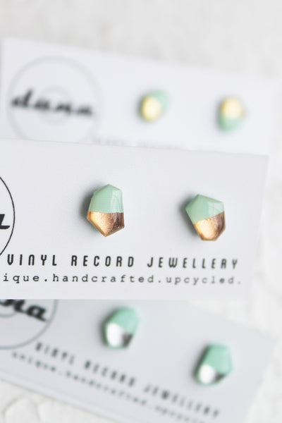 Minty metallic geometric stud earrings from vinyl record