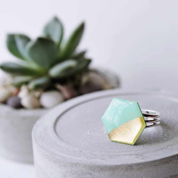 Gold dipped statement hexagon ring / record jewelry