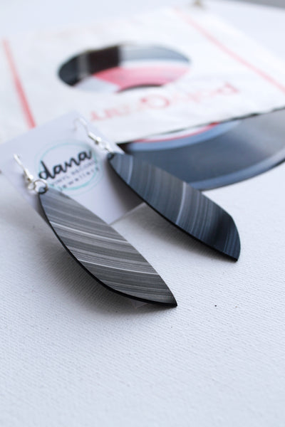 long statement black earrings handmade from vinyl record