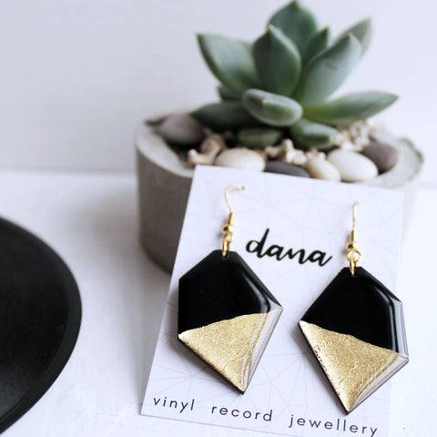 Bold nugget eco-friendly dangle earrings / vinyl jewelry