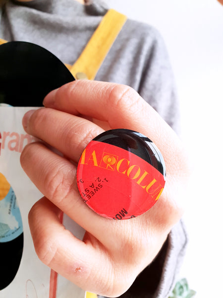 Unique handmade upcycled vinyl record ring in red