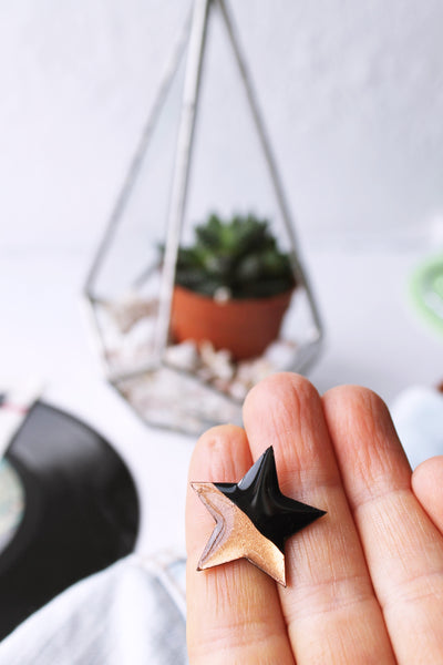 Bold star pin badge black and copper / vinyl record jewelry