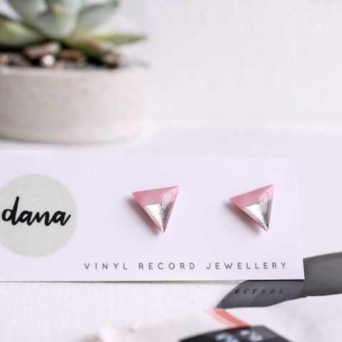 modern silver dipped triangle studs handmade from vinyl record