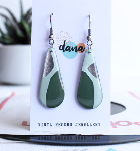 *new* green and silver abstract long teardrop earrings / recycled vinyl earrings