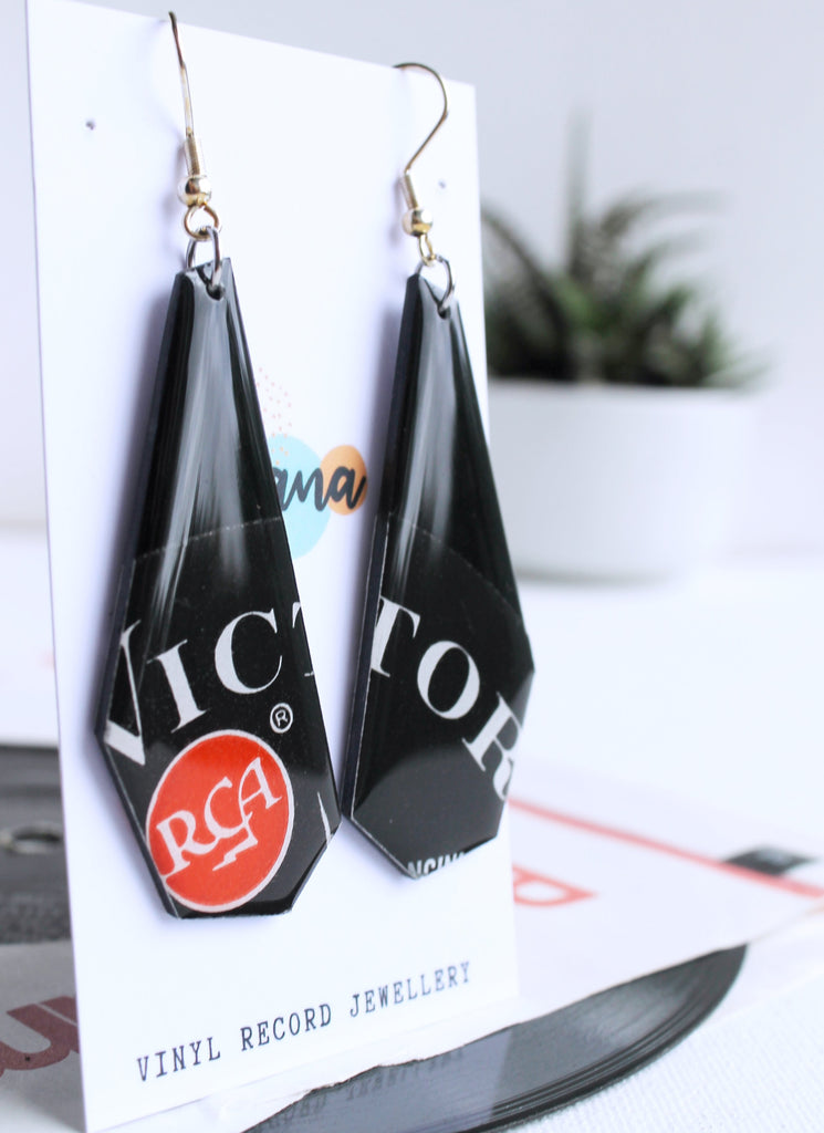 *NEW RCA Victor - Long edgy geometric upcycled vinyl earrings.