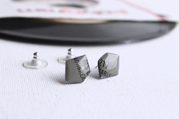 20% OFF Grey vinyl record studs / modern recycled jewelry