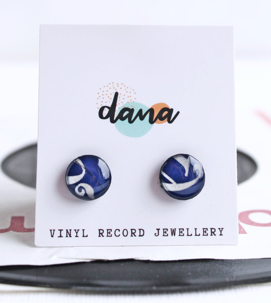 *New deep blue 10mm disc upcycled vinyl record studs in red
