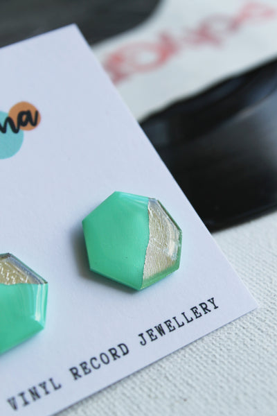 50% OFF turquoise and silver studs (minor blemish)