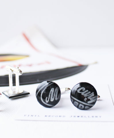 Disc cufflinks in black - one of a kind ethical gift for him handmade from vinyl record