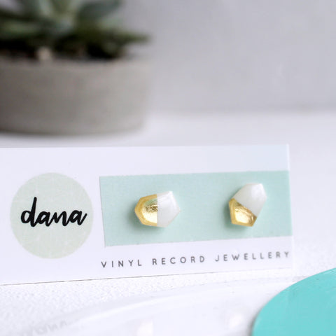 Minimalist gold dipped small geometric white stud earrings
