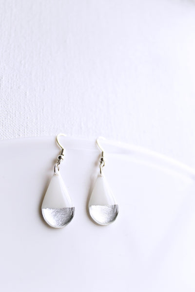Modern white and silver teardrop dangle earrings / vinyl record jewelry
