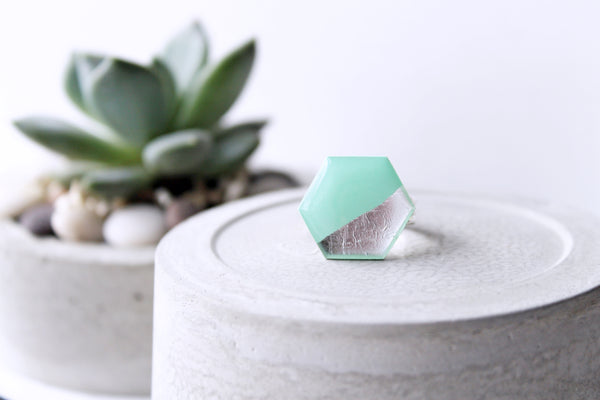 Geometric vinyl record ring in mint green and silver