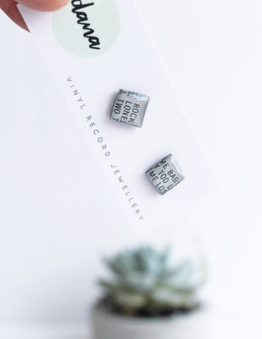 "Grey square studs ""Rock Me Baby"" / unique handmade earrings"