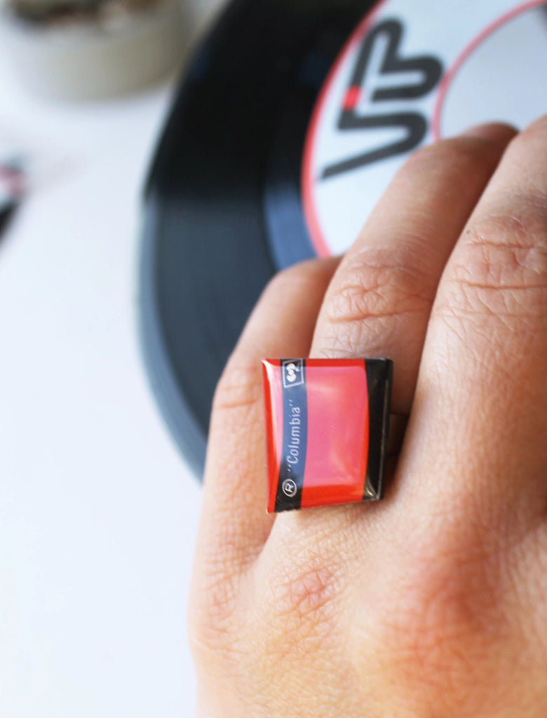 Adjustable black and red funky Columbia vinyl record ring