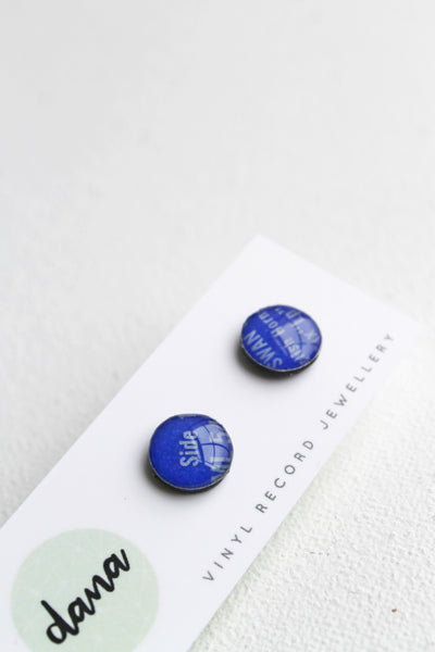 Blue vinyl record stud earrings / eco-friendly jewelry