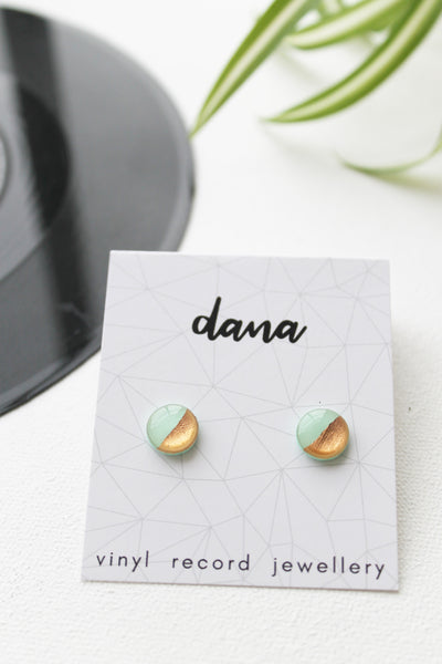 Disc studs in mint and coppery rose gold / vinyl record jewellery