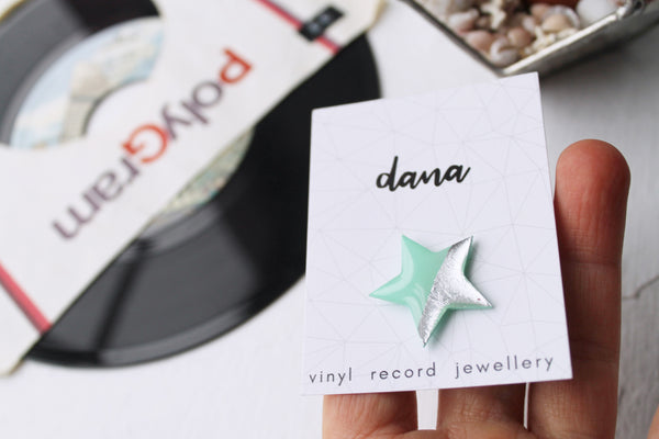 modern star pin badge in mint green and silver