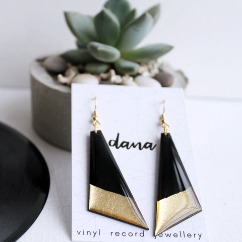 Large eco-friendly dangle earrings in black and gold