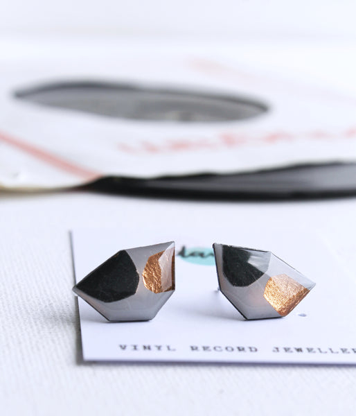 abstract geometric studs / mixed media upcycled jewelry