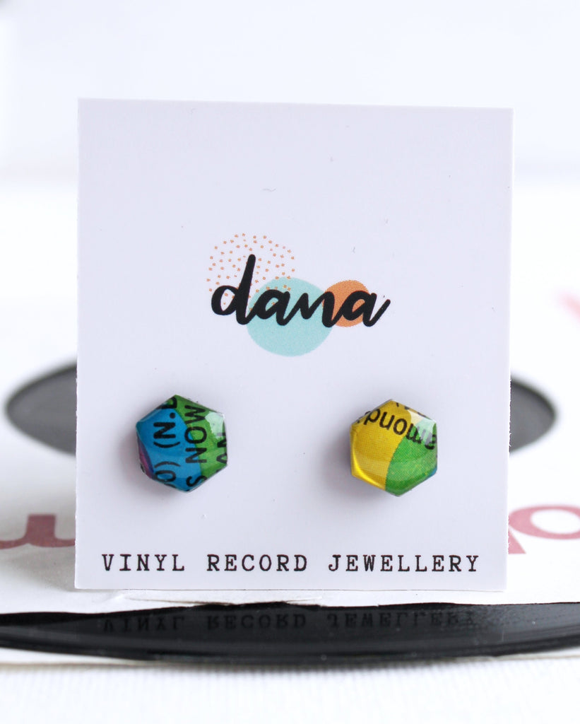 handmade small vinyl record hexagon studs