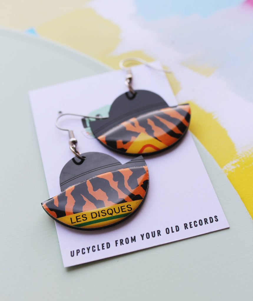 40% OFF black and orange dangle earrings made from vinyl record
