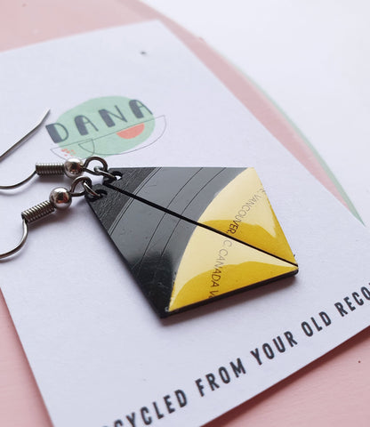 30% OFF black and yellow triangle earrings / vinyl record jewelry