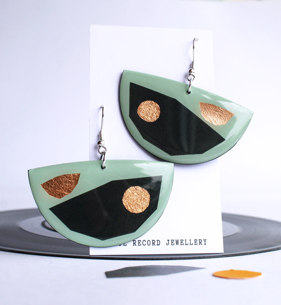 Mixed media upcycled vinyl art earrings / Half moon in retro green with hints of copper