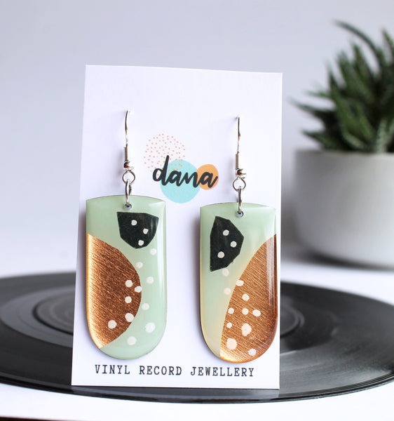 *new* abstract geometric art earrings handmade from a vinyl record!