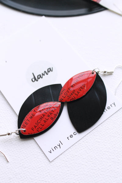 """I'll Always Be In Love With You"" unique vinyl record dangle earrings"