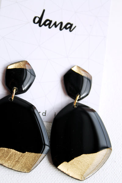 Eco-chic black and gold vinyl record statement earrings / vinyl record jewelry