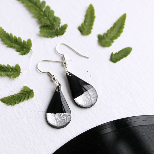 Silver dipped teardrop vinyl record earrings