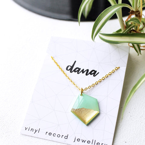 Geometric mint and gold nugget necklace